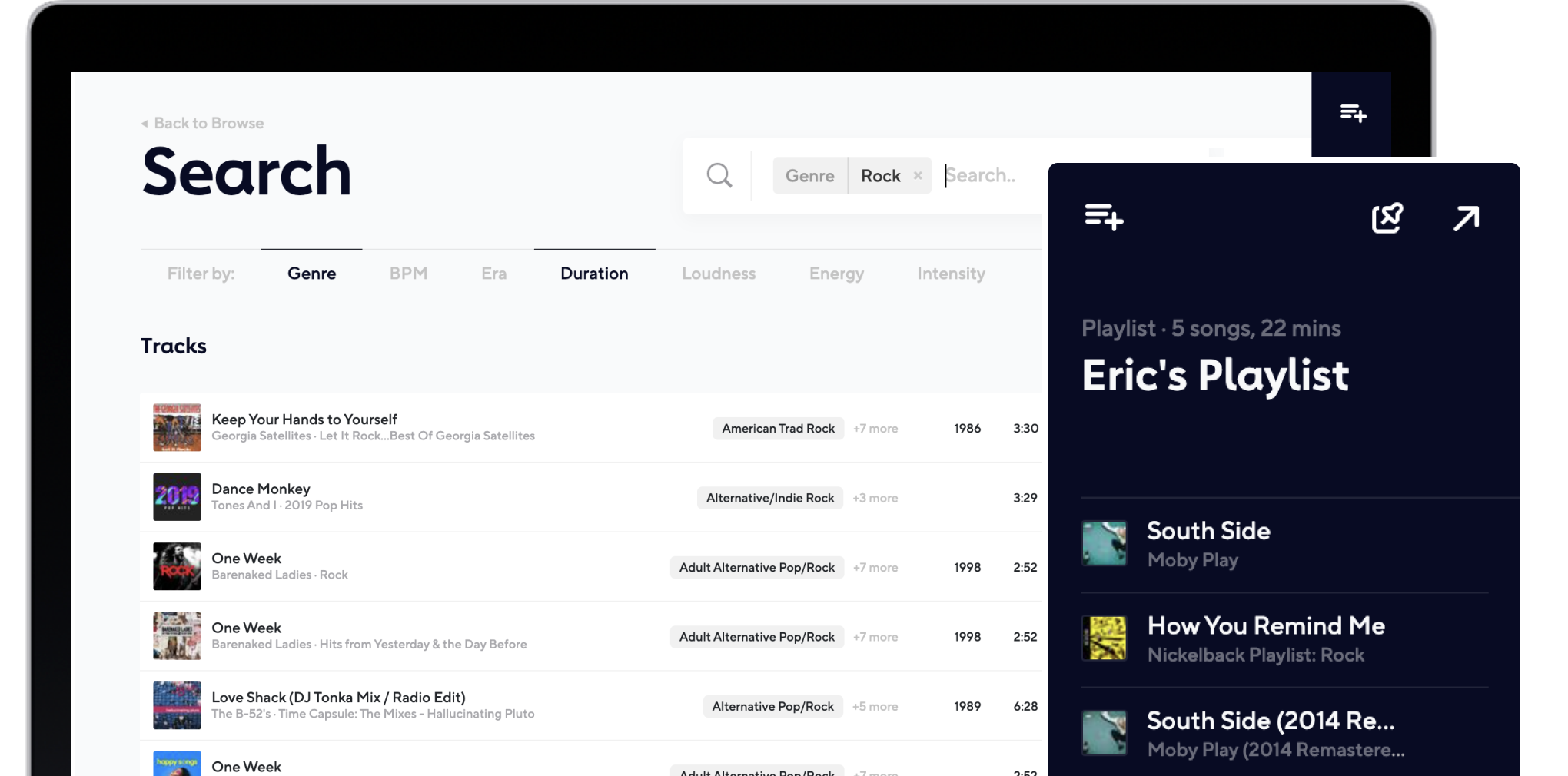 Adaptr browse playlists screen